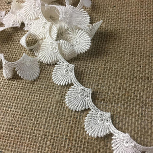 "Lace Trim Seashell Royal Fan Design Venise, 1"" Wide, Choose Color. Multi-Use Garments Children Bridal DIY Sewing Craft Veil Costume Scrapbook"