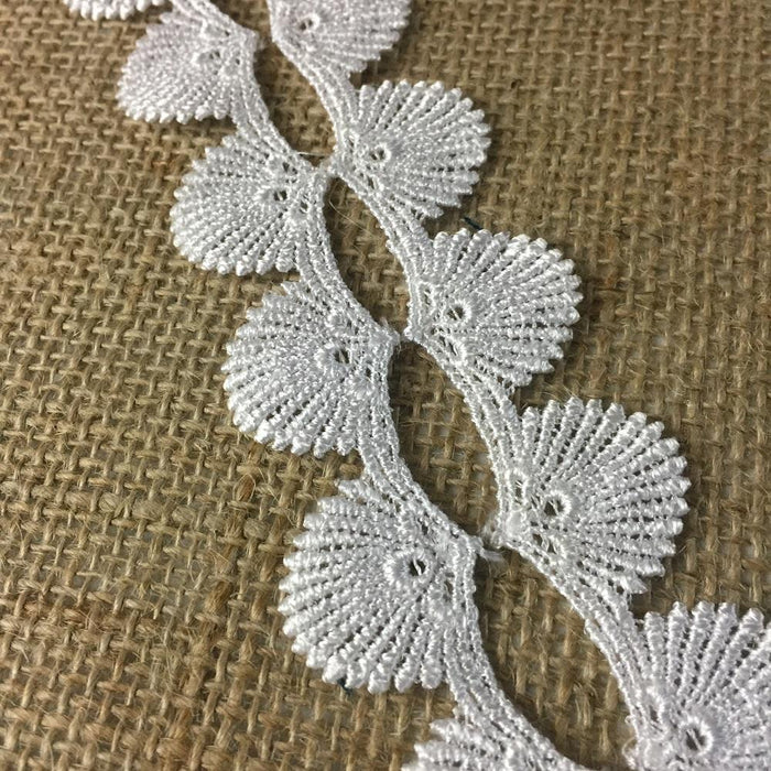 "Venice Lace Trim, 1"" Wide Sea Shell Royal Fan Design, Choose Color, Multi-Use Garments Children Bridal DIY Sewing Craft Veil Costume Scrapbook"