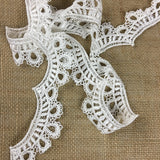 "Lace Trim Scallops Royal Drapes Venise 2"" Wide, Choose Color, Many Uses Garments Decorations Crafts Veils Tops Dance Theater Costumes DIY Sewing"