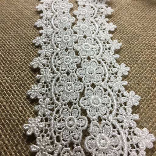 "Lace Trim Daisy Dance Venise, 1.75"" Wide, Ivory, Multi-Use Garments Bridal DIY Sewing Sleeves Skirt Crafts Veils Table Runner Costumes Scrapbook"