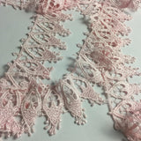 "Trim Lace Pink 2.5"" Wide, Holy Light Window Design Venise, Multi-Use Garments DIY Sewing Slip Extender Decoration Arts Crafts Costume Veil"