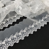 "Lace Trim Scalloped Embroidered Sheer Organza Cute Daisy, 2""-3"" Wide, Choose Color, Multi-Use Garments Gowns Veils Bridal Communion Christening"