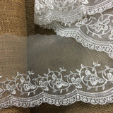 "Lace Trim Scalloped Embroidered Sheer Organza, 2.5""-5"" Wide, Choose Color, Multi-Use Garments Gowns Veils Bridal Communion Christening Costumes"