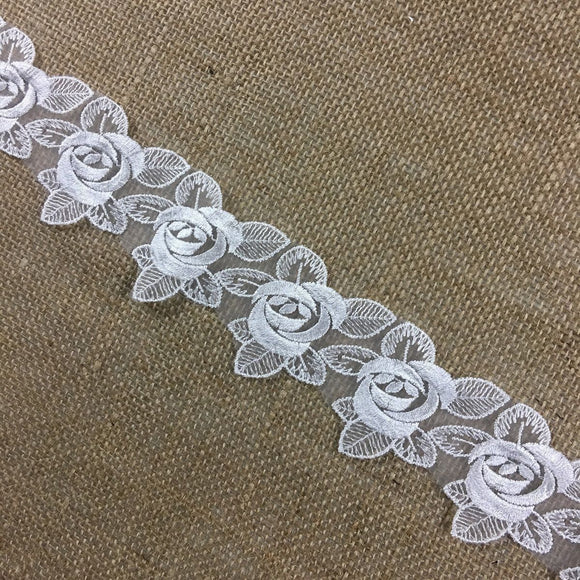 Lace Trim Rose Flower Embroidered Sheer Organza, 2.5