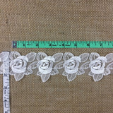 "Lace Trim Rose Flower Embroidered Sheer Organza, 2.5"" Wide, Choose Color, Multi-Use Garments Gowns Veils Bridal Communion Christening Costumes Decoration"