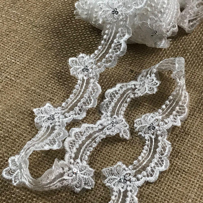 "Scalloped Lace Trim silver sequins Embroidered Sheer Organza, 1.5"" Wide, Choose Color. Multi-Use Garments Gowns Veils Bridal Costume Communion Christening Baptism"