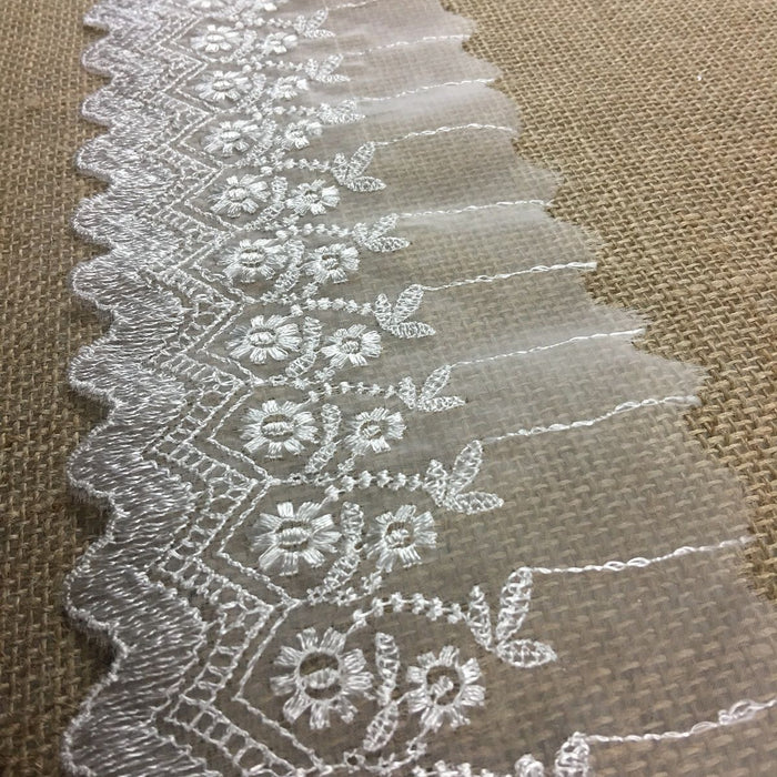 "Lace Trim Scalloped Embroidered Sheer Organza, 2.5""-4"" Wide, Choose Color, Multi-Use Garments Gowns Veils Bridal Communion Christening Costumes Curtains"
