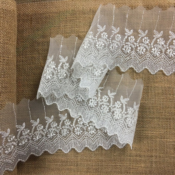 Lace Trim Scalloped Embroidered Sheer Organza, 2.5