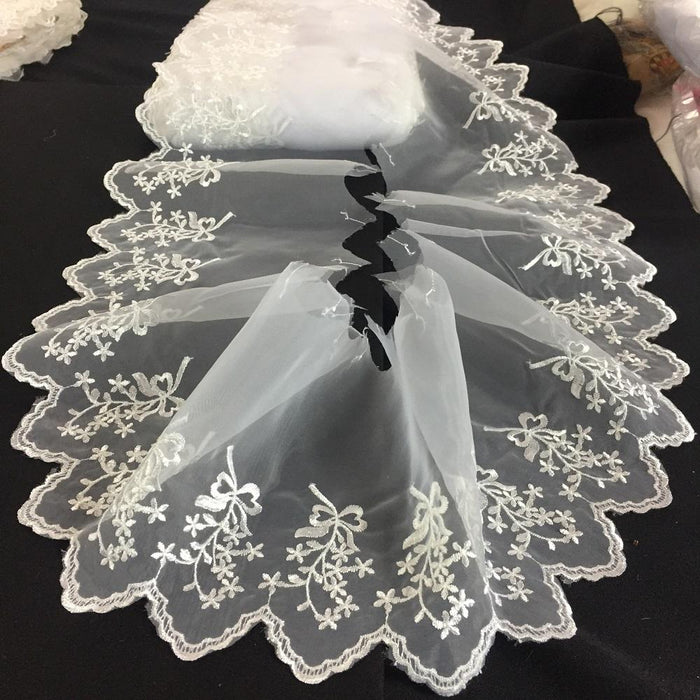 "Lace Trim Scalloped Embroidered Sheer Organza, 4-6"" Wide, Choose Color, Multi-Use Garments Gowns Veils Bridal Communion Christening Costumes"
