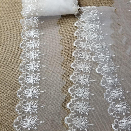 "Lace Trim Scalloped Sprouts Embroidered Sheer Organza, 2""-3"" Wide, Choose Color, Multi-Use Garments Gowns Veils Bridal Communion Christening"