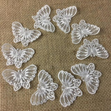 "Lace Applique Butterfly Embroidered Sheer Organza, 1.5"" x 2.5"", Choose Color. For Dresses Gowns Veils Bridal Communion Christening Costumes Invitations Scrapbooks"