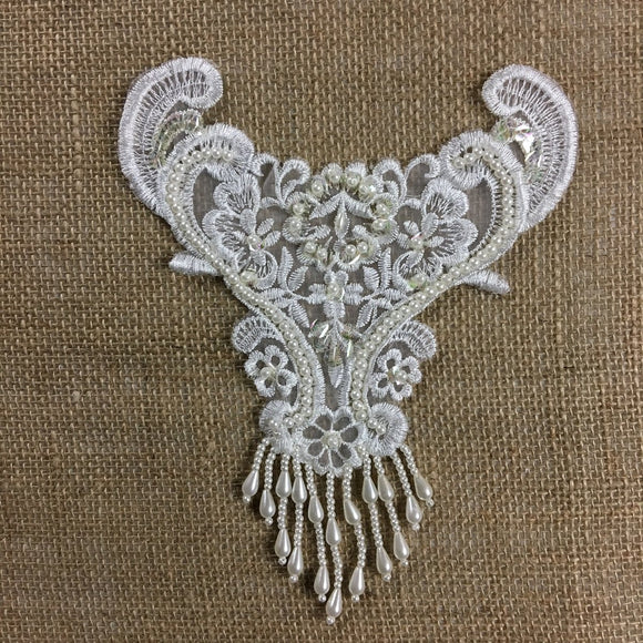 Beaded Applique Piece Lace Hanging Beads Strings Fringe Dangling, 8