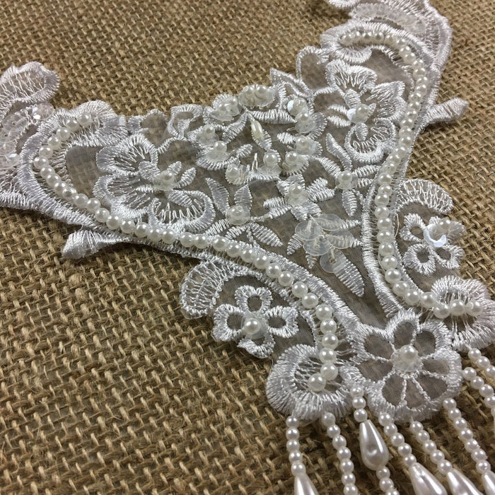 "Beaded Applique Piece Lace Hanging Beads Strings Fringe Dangling, 8""x6"", Choose Color, Multi-Use Garments Dance Theater Costumes DIY Sewing Decoration"