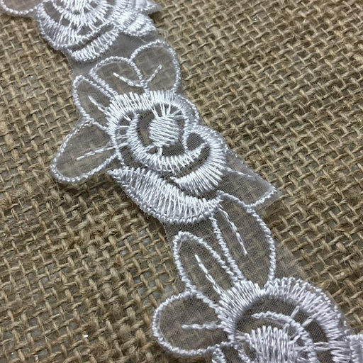 "Lace Trim Rose Flower Embroidered Sheer Organza, 1.5"" Wide, Choose Color, Multi-Use Garments Gowns Veils Bridal Communion Christening Costumes"