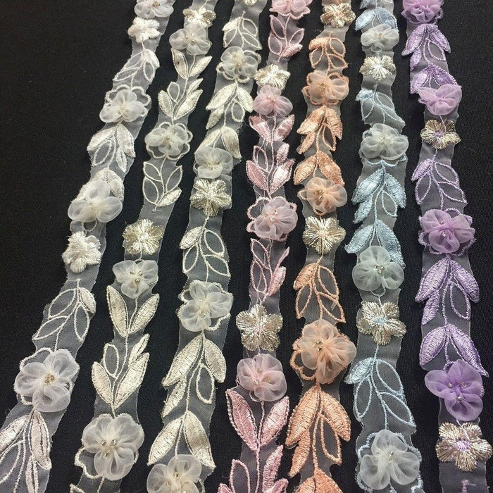 "Lace Trim Puff Organza Flower Embroidered Sheer Organza, 1"" Wide, Choose Color, Multi-Use Garments Costume Decoration Scrapbooks Invitations Gowns"