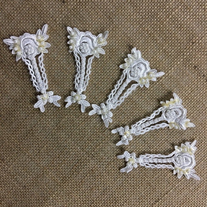 "Lace Applique Piece Embroidered Beaded Angel Flower Venise, 2""x4"", White, Multi-Use Garments Bridal Communion Christening Baptism Costume Scrapbook"