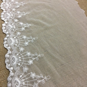 "Embroidered Mesh Trim Lace Scalloped Border, 3.5""-10"" Wide, Ivory, Multi-Use Garments Gowns Veils Costumes Slip Extender, DIY Sewing, Decoration"