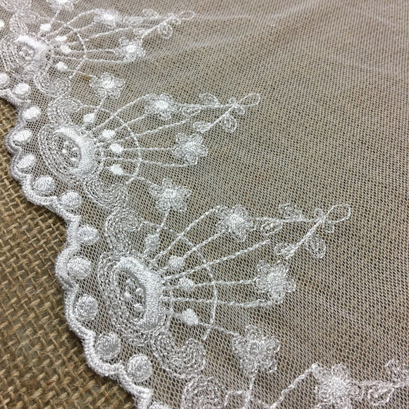 Embroidered Mesh Trim Lace Scalloped Border, 3.5