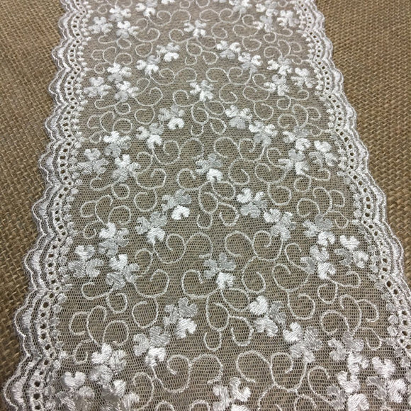 Embroidered Mesh Trim Lace Double Scalloped Border, 6.5