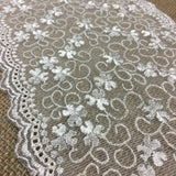 "Embroidered Mesh Trim Lace Double Scalloped Border, 6.5"" Wide, Ivory, Multi-Use Table Runner Garment Gown Veil Costume Slip Extender, DIY Sewing"