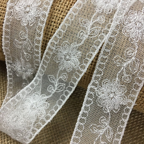 Lace Trim Mesh Embroidered Floral, Double Border Straight Edges 1.5