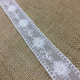 "Lace Trim Mesh Embroidered Floral, Double Border Straight Edges 1.5"" Wide, Choose Color, Multi-Use Garments Gowns Veils Bridal Communion Christening"