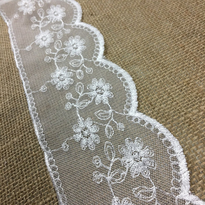 "Scalloped Mesh Lace Embroidery Trim, 3.5"" Wide, White, Multi-Use Garments Gowns Veils Bridal Communion Christening Slip Extender DIY Sewing"