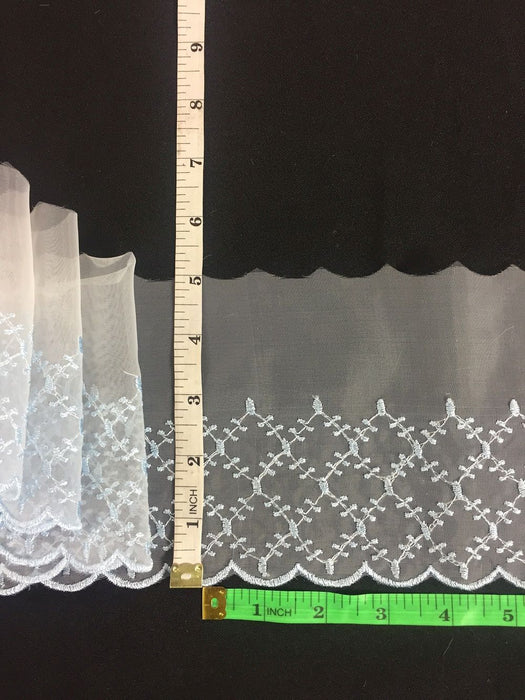 "Lace Trim Embroidered Scalloped Border Zigzag Diamonds Sheer Organza, 3""-5"" Wide, Choose Color. For Dresses Veils Towels Bridal Decoration Costumes"