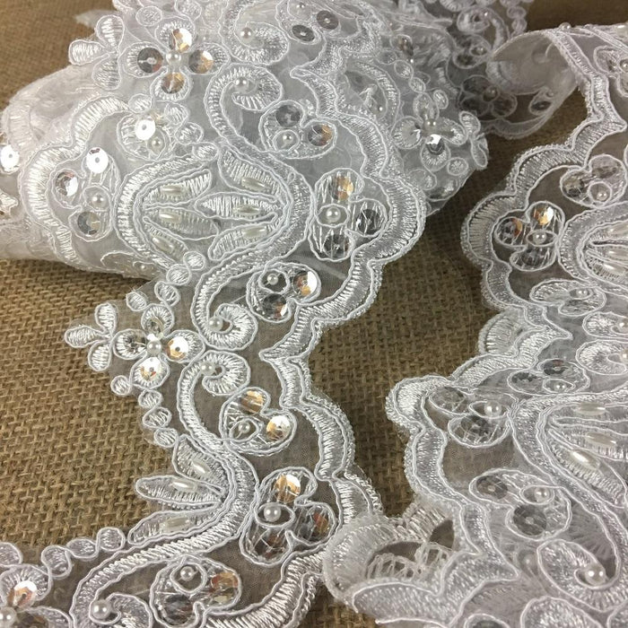 "Bridal Veil Lace Trim Classic Wave Scallops Alencon Embroidered Corded Sequined Hand Beaded Organza Ground, 4"" Wide, Choose Color, Top Quality"