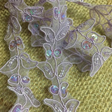 "Beaded Trim Lace Corded Sequined Hand Beaded Organza Simple Gorgeous Double Border Floral Leaf Design, 1.25"" Wide, Choose Color"