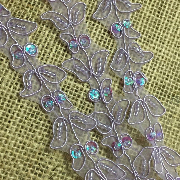 Beaded Trim Lace Corded Sequined Hand Beaded Organza Simple Gorgeous Double Border Floral Leaf Design, 1.25