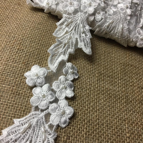 Lace Trim Beaded Embroidered Floral Design Organza Ground, 2.25