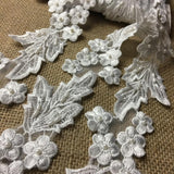 "Lace Trim Beaded Embroidered Floral Design Organza Ground, 2.25"" Wide, White, Trim by the Yard for Garments Bridal Crafts Veils Dresses Costumes"