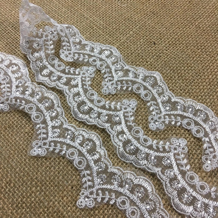 "Communion Christening Lace Trim Embroidered clear sequins Scallops Organza Ground, 2"" Wide, White, Beautiful Multi-Use Garments Gowns Veils Bridal"