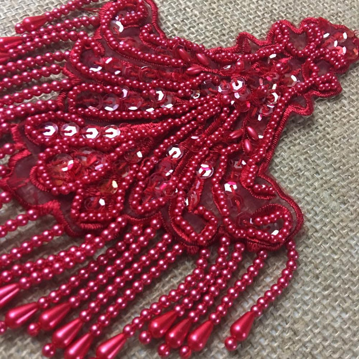 "Beaded Applique Piece Lace Hanging Beads Strings Fringe Dangling Quality Rich, 8""x6"", Choose Color, Multi-Use Garments Dance Theater Costumes"