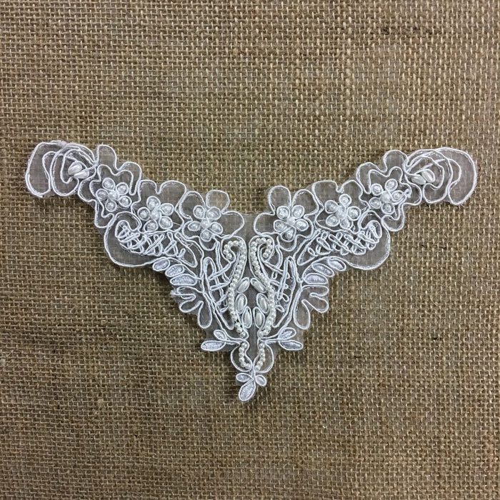 "Applique Piece Lace Corded Beaded Communion Christening Baptism Yoke Neckpiece, 8""x5"", White, Multi-Use Garments Dance Theater Costumes Tops"