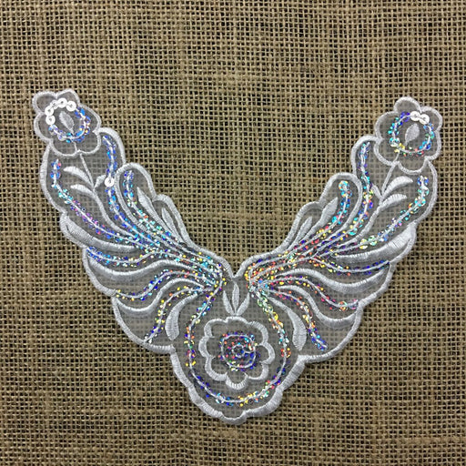 "Applique Piece Lace Hologram Laser Sequins Yoke Neckpiece Eagle, 6.5""x8"", Choose Color, Multi-Use Garments Dance Theater Costumes Tops DIY Sewing"