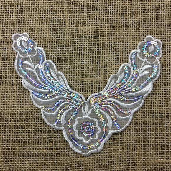 Applique Piece Lace Hologram Laser Sequins Yoke Neckpiece Eagle, 6.5