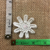"Lace Applique Piece Embroidered Layered Bead Sequin Flower Center Venise, 2""x2"", Choose Color, Multi-Use Garments Bridal Costume Scrapbook"