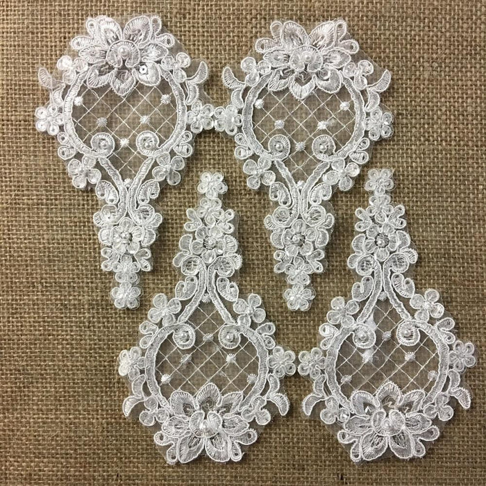 "Corded Beaded Applique Piece Embroidered Sequinned Sheer Organza Lace Teardrop Shape, 6""x4"", Choose Color.Multi-Use Garments Costumes Crafts"