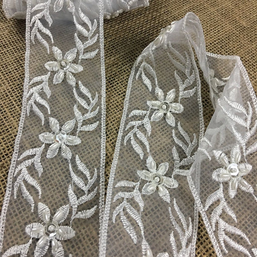 "Beaded Lace Trim Embroidered Sequined Hand Beaded Double straight edge Organza Ground, 2"" Wide, White, Multi-use Bridal Veils Communion Christening Baptism"