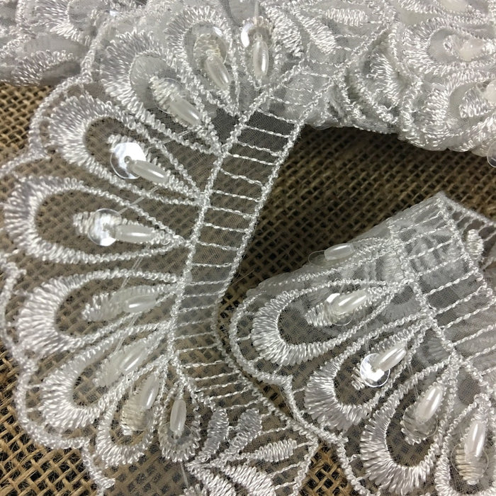 "Scalloped Beaded Lace Trim Embroidered Hand Beaded Sequined Organza Ground, 3"" Wide, White, Multi-use Bridal Veils Communion Christening Baptism"