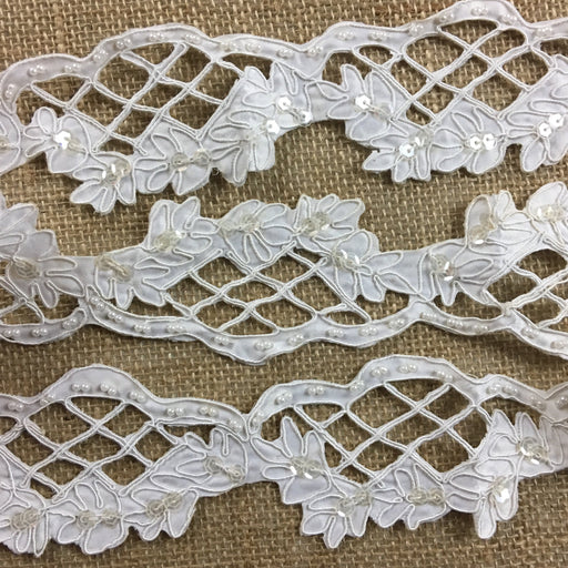 "Bridal Trim Lace Corded Hand Beaded Hand Cut Satin Sequined Scalloped, 2.25"" Wide, White. Multi-Use Veils Garments Bridal Communion Christening Costumes"