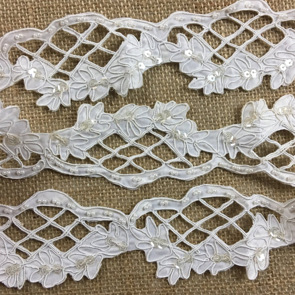 Bridal Trim Lace Corded Hand Beaded Hand Cut Satin Sequined Scalloped, 2.25