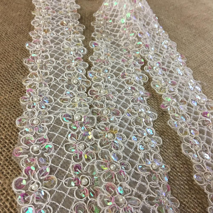 "Trim Lace Sequined Beaded Corded Bling Daisy Flowers by the Yard, 2"" Wide, Choose Color. Multi-Use Garments Veils Decoration Costumes Scrapbooks"