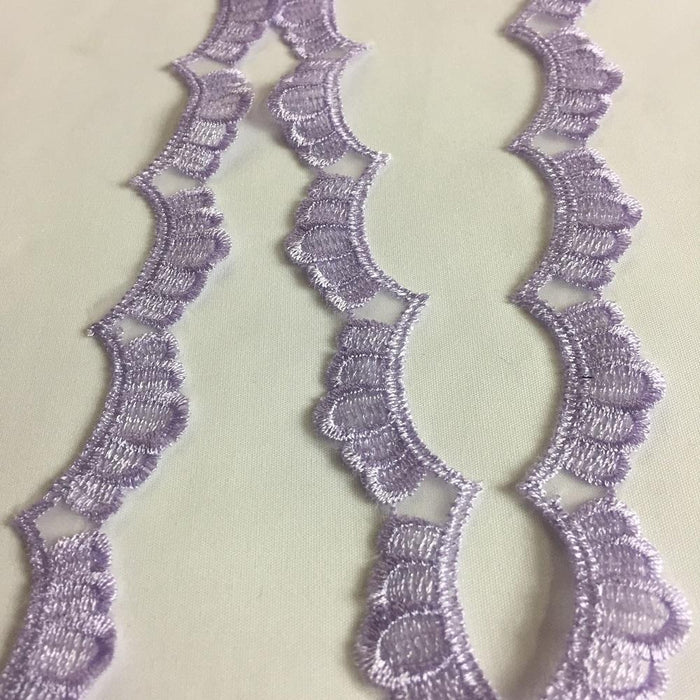 "Scalloped Lace Trim Embroidered Sheer Organza Double Border Simple Beautiful, 1"" Wide, Choose Color. Multi-Use Dresses Veils Towels Bridal Costume"