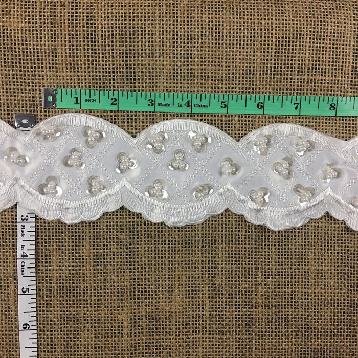"Scalloped Beaded Lace Trim Embroidered Hand Beaded Sequined Satin Ground, 3"" Wide, White, Multi-use Garments Bridal Veil Communion Christening Baptism"