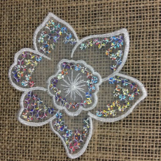 "Applique Piece Lace Hologram Laser Sequins Layered Lotus Flower, 4""x4"", White, Multi-Use Garments Dance Theater Costumes Tops DIY Sewing Decoration"