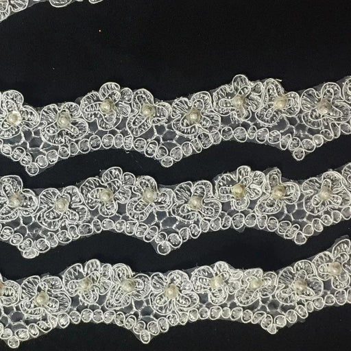"Bridal Lace Trim Scalloped Alencon Hand Beaded Embroidered Corded Sequined Organza, 2"" Wide, White. Multi-Use Veil Communion Christening Garment Costume"