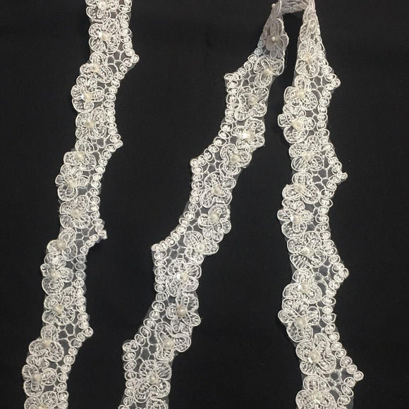 Bridal Lace Trim Scalloped Alencon Hand Beaded Embroidered Corded Sequined Organza, 2